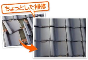 ズレた瓦の補修