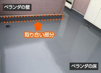 ベランダの床と壁の取り合い部分