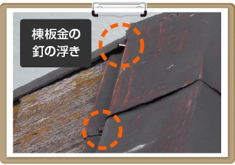 棟板金の釘の浮き