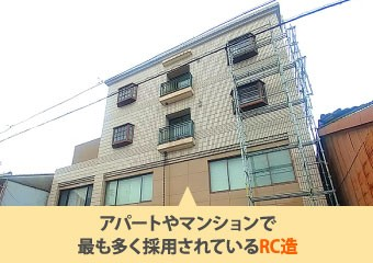 アパートやマンションで最も多く採用されているRC造
