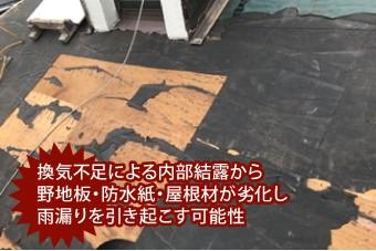 換気不足による内部結露から野地板・防水紙・屋根材が劣化し雨漏りを引き起こす