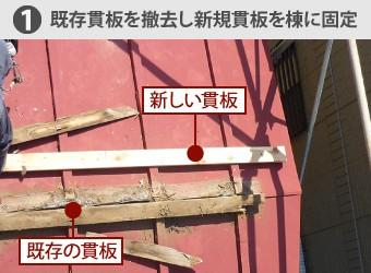 既存貫板を撤去し新規貫板を棟に固定