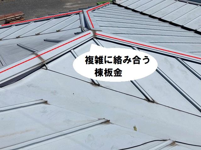 複雑に絡み合う縦葺き金属屋根の棟板金