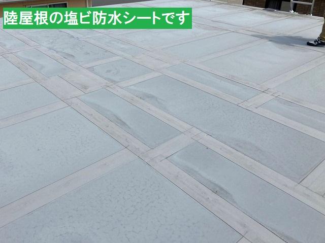 陸屋根の防水層である塩ビ防水シート