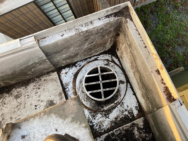 ゴミを撤去すると雨樋の落とし口が現れた
