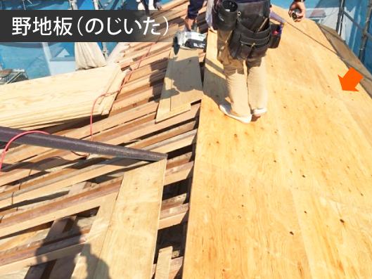 屋根に野地板を施工する