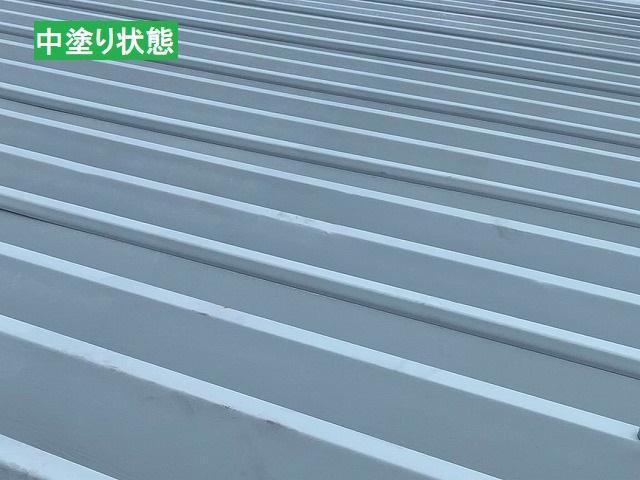 中塗り状態の水戸市の折板屋根