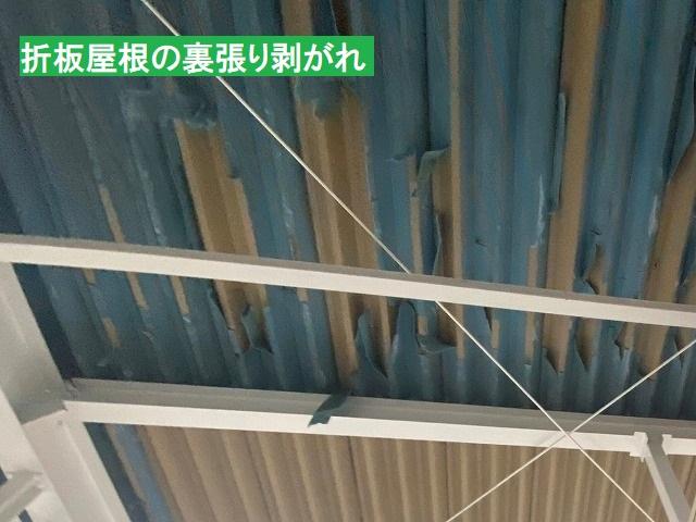 折板屋根の裏張りが剥がれてきている