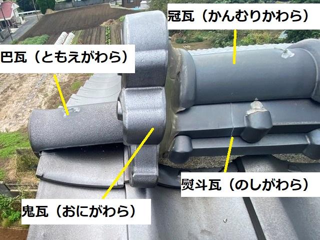 棟瓦の部位を呼称別に記載した画像