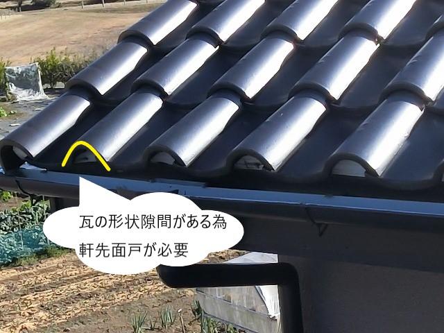 瓦の形状隙間に軒先面戸が必要だと解説する画像