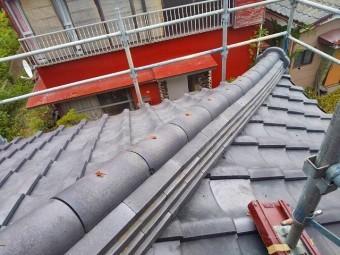 1部補修屋根工事で取り直した降り棟
