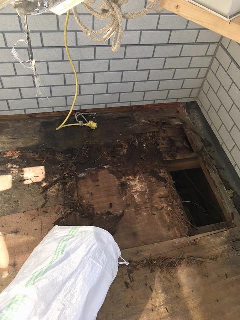 シート防水を剥がし下地の腐食を発見