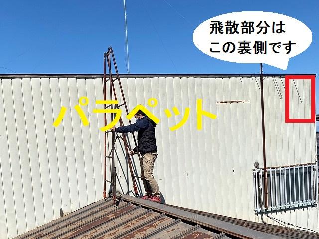 パラペットに登る為、下屋根に脚立を設置する職人