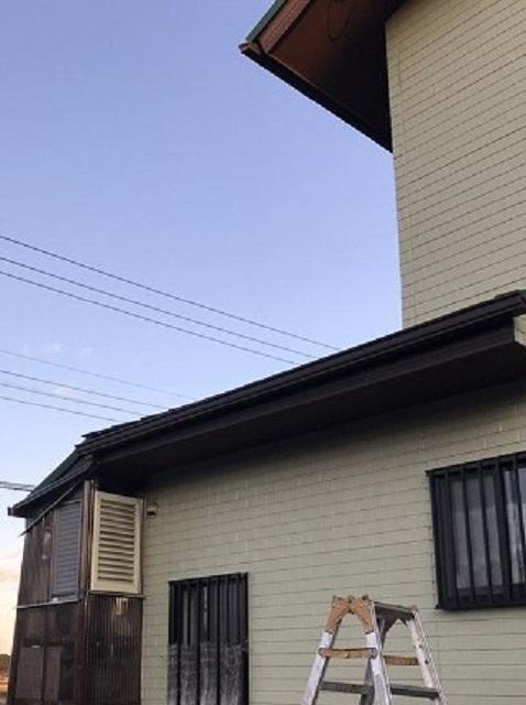 1階西面の軒樋の交換が完了