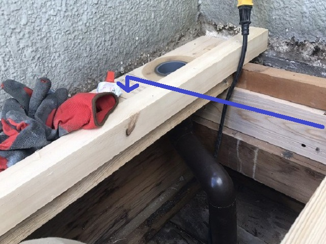 ベランダの溝排水部分を新規施工