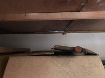 雨漏り染みのできた天袋の天板