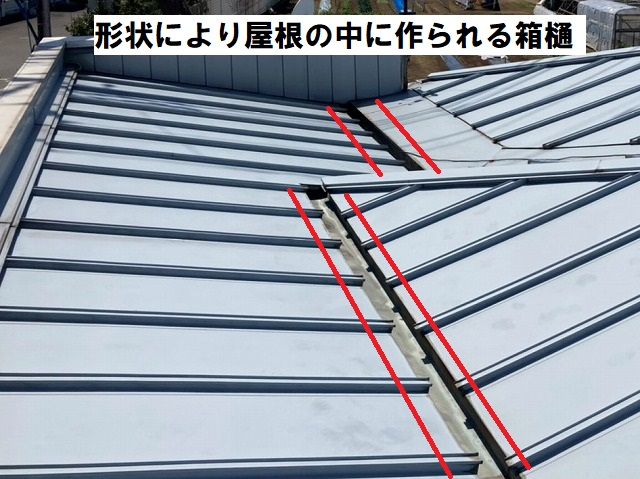 屋根形状が複雑で、屋根の中に箱樋が設置されている結城市の金属屋根