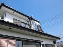 銅製雨樋交換2階梯子