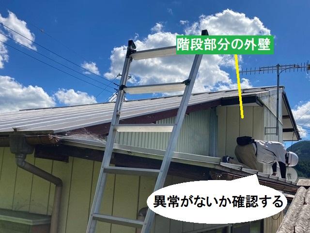雨漏り部の外壁を確認するスタッフ