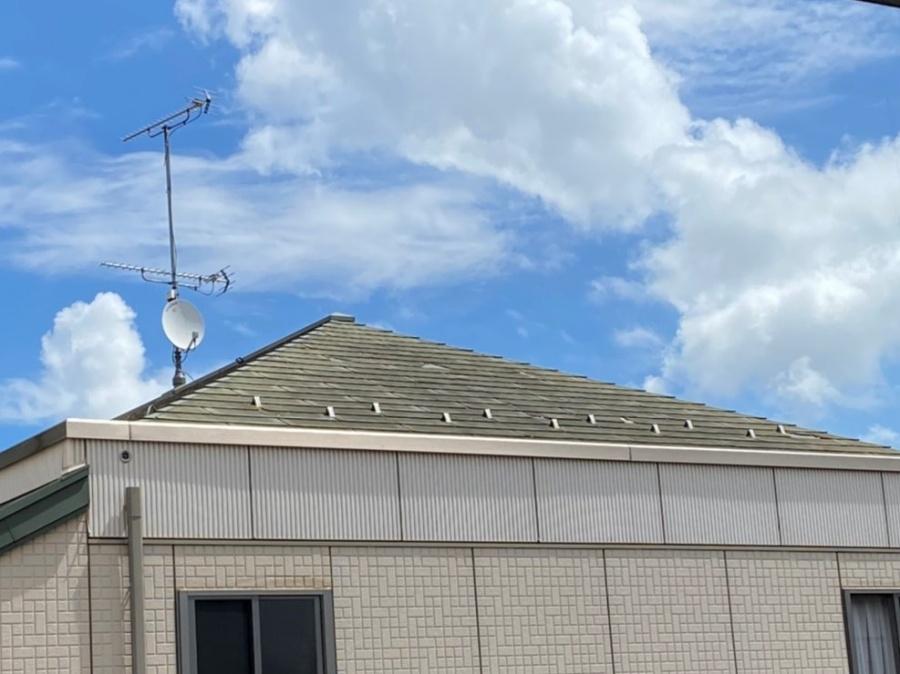 水戸市で行った化粧スレート屋根を地上から見た画像