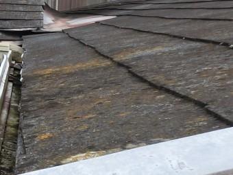 スレート屋根材に赤カビが生えているひたちなか市内の頑張屋根