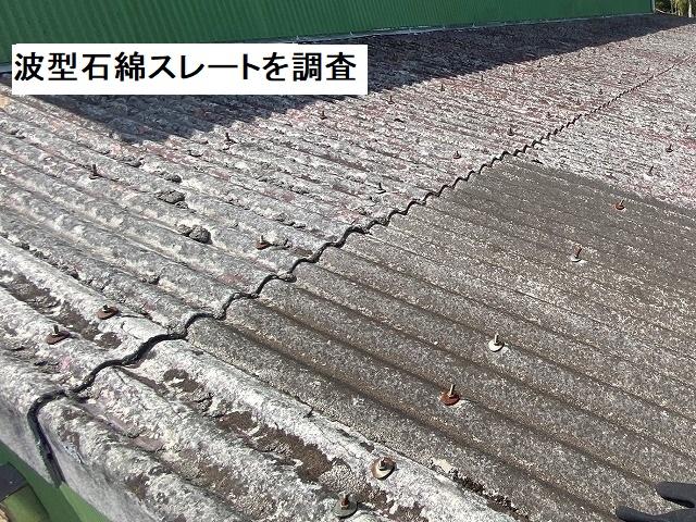 稲敷市の現場の波型石綿スレートの状態