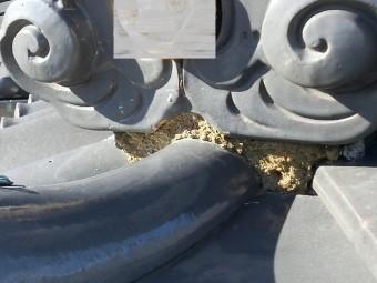 鬼瓦の葺き土