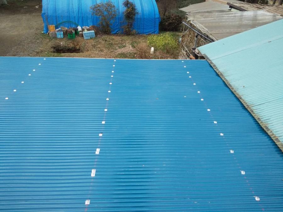 施工後の、鉾田市の作業小屋トタン屋根