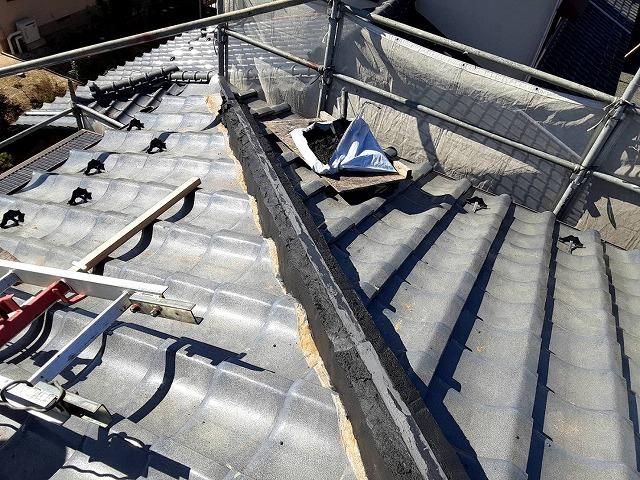 七寸丸丸伏せ工法の土台が形成された水戸市の降り棟