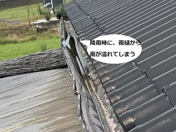 屋根の上から見た変形した雨樋には雨水が滞留している