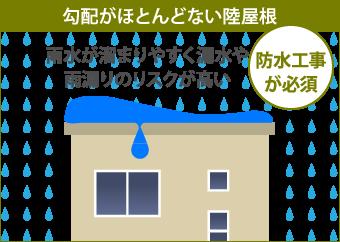 陸屋根は雨水が溜まりやすく雨漏りのリスクが高い