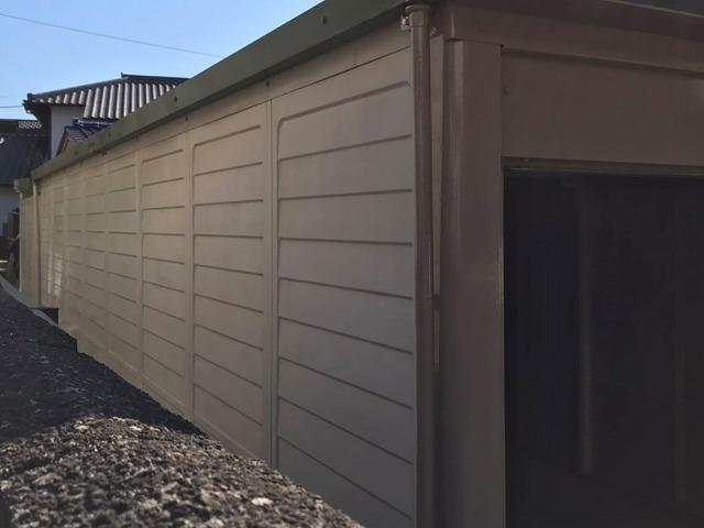 塗装が完了した日立市の車庫