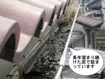 25年使用の雨樋の泥詰まり