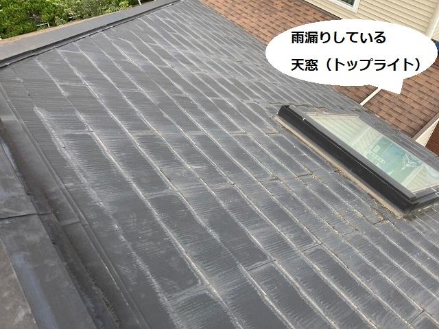 棟付近から見下ろす雨漏りしている天窓