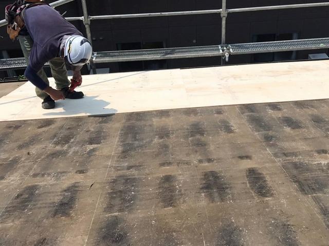 軒先から野地板の増し張りを行う職人