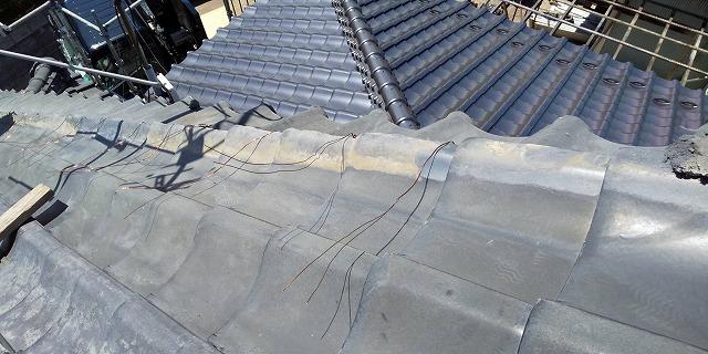新しく銅線を施工した風切丸部分
