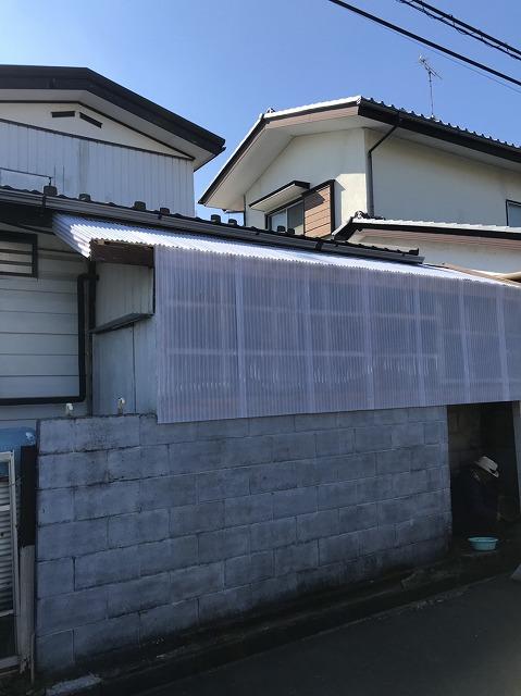 施工後の波板囲い小屋の様子