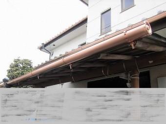 銅製雨樋玄関交換