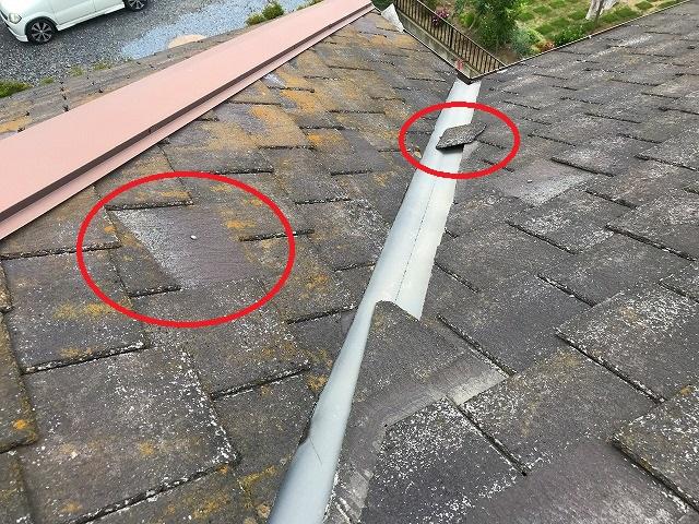 台風被害を受けてスレート屋根のスレート材が飛散している