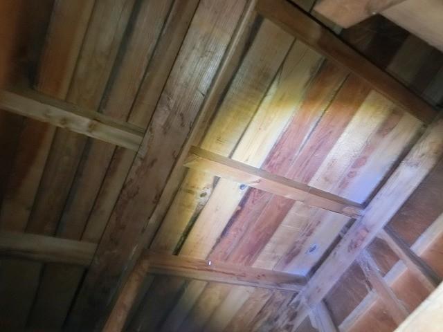 天井材の穴あきから見た天井裏