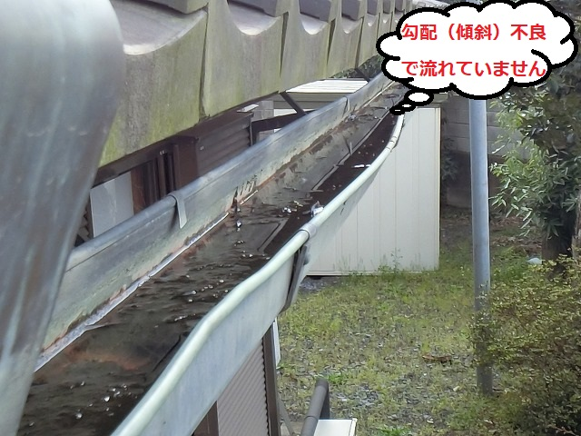 勾配不良を起こしている銅軒樋を上部から撮影