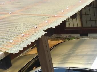 テラス波板屋根の先端割れ