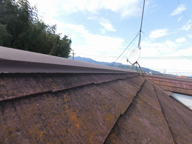 西面から見た大きなスレート屋根