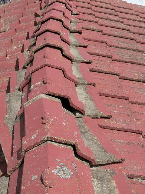 湾曲しているセメント瓦屋根の棟