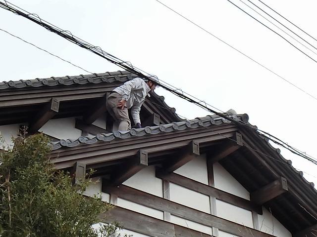 調査の為屋根を慎重に歩く調査員