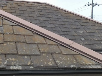 カラーベストアーバニー屋根材は塗膜が剥がれ苔やカビが発生している