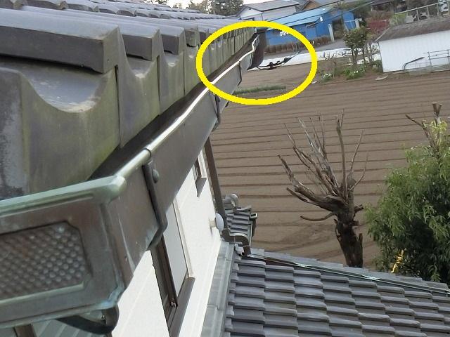 筑西市で現場調査中の2階南側銅軒樋で変形を確認
