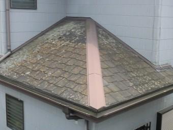 結城市の現場の下屋根は塗膜が剥がれて変色しカビや苔も発生している
