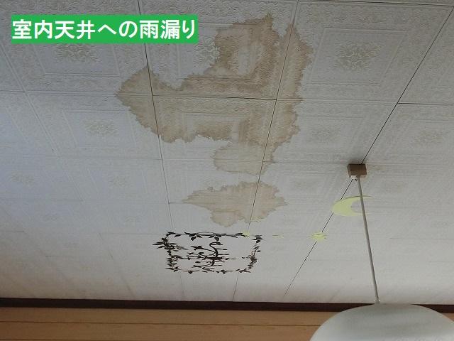 室内天井の広範囲に雨漏り染み