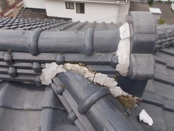棟漆喰の崩れ